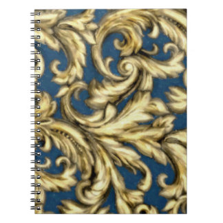 Dazzling Damask Teal and Gold Spiral Note Book