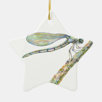 Dazzling Dragonfly on a Branch Christmas Ornament