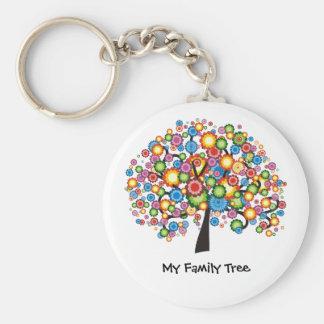 Dazzling Family Tree Basic Round Button Key Ring