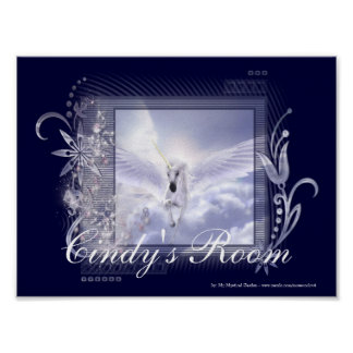 Dazzling Flying Unicorn Customizable Poster Print