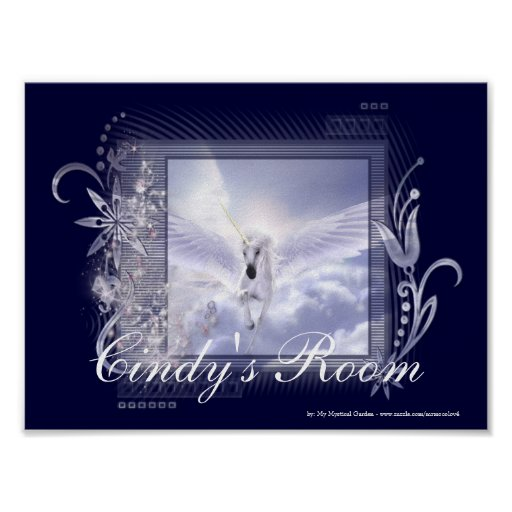 Dazzling Flying Unicorn Customizable Poster Print