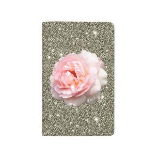 Dazzling Gold Glitter Rose Floral Pocket Journal