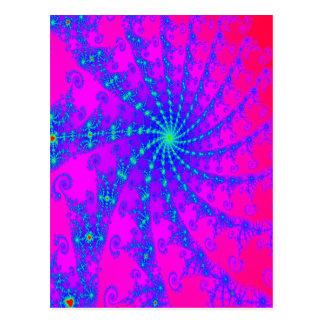 Dazzling Hot Pink & Blue Swirl Fractal Design Postcard