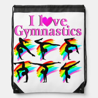 DAZZLING I LOVE GYMNASTICS RAINBOW DESIGN DRAWSTRING BAG