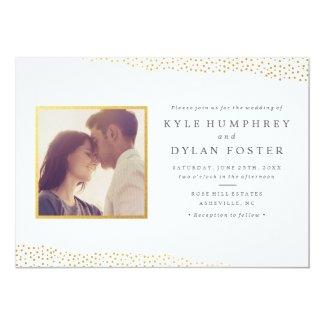 Dazzling photo wedding invitation faux foil