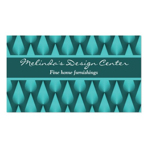 Dazzling Raindrops Business Card, Vibrant Teal