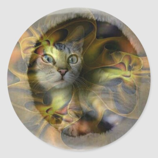 Dazzling Space Kitty gift collection Round Sticker