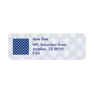 Dazzling stars on blue return address label