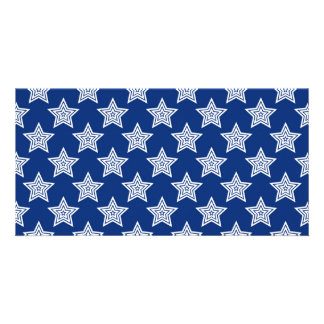Dazzling stars on blue photo card