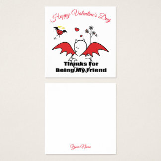 DBY with friends Hearty Happy Valentine's Day Square Business Card