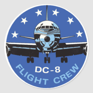 DC-8 Flight Crew Classic Round Sticker