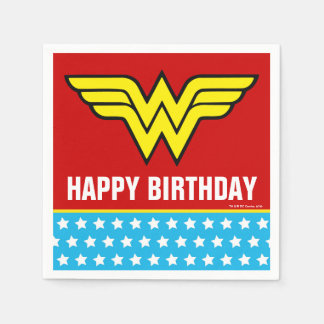 DC Comics | Wonder Woman Logo | Happy Birthday Disposable Serviettes