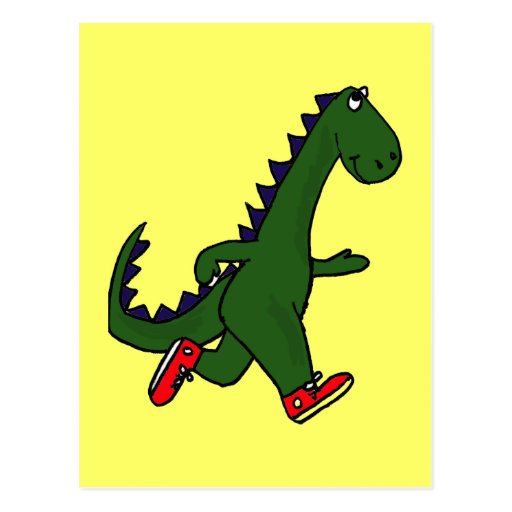 DC- Funny Jogging Dinosaur Postcard