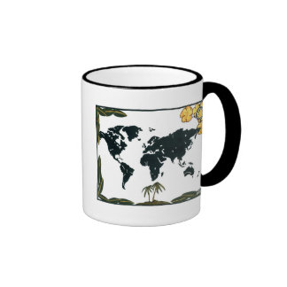 DD 091 OLD WORLD MAP II RINGER COFFEE MUG