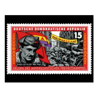 DDR stamp commemorating Hans Beimler Postcard