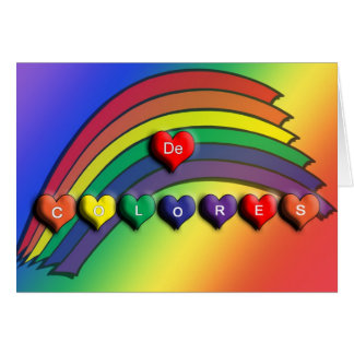 De Colores Rainbow Hearts Blank Card