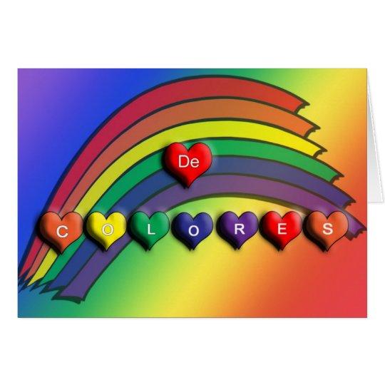 De Colores Rainbow Hearts Blank Card
