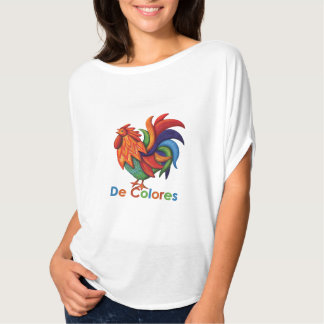 De Colores Rooster Gallo Women's Flowy Circle Top