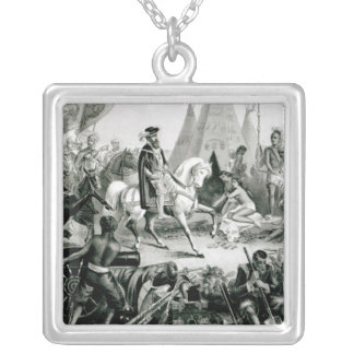 De Soto Discovering the Mississippi Silver Plated Necklace