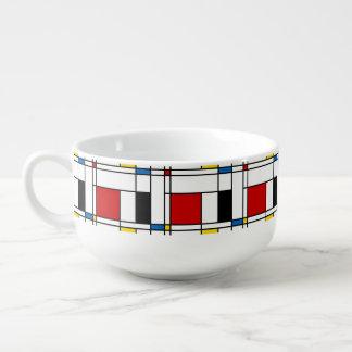De Stijl Pattern Soup Bowl With Handle