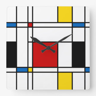 De Stijl Pattern Square Wall Clock
