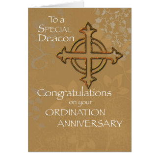 Deacon Anniversary of Ordination Gold Cross Cards