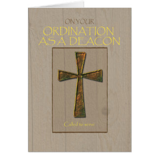 Deacon Ordination Congratulations, Metal Cross Card