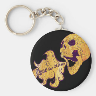 Dead but alive basic round button key ring