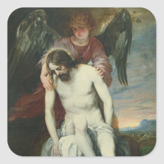 Dead Christ Supported by an Angel, c.1646-52 (oil Square Sticker