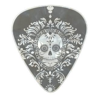 Dead Damask - Chic Sugar Skull Guitar Pick Pearl Celluloid Guitar Pick