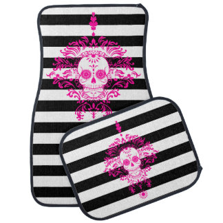 Dead Damask - Chic Sugar Skull on Stripes Car Mat