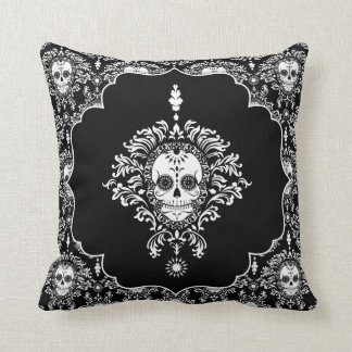 Dead Damask - Chic Sugar Skulls Throw Pillow Cushion