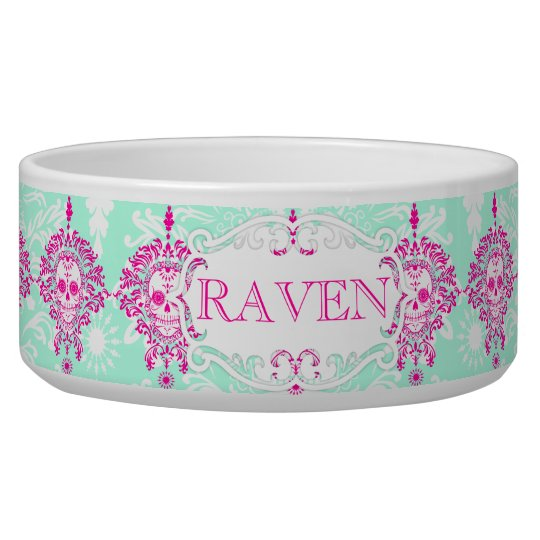 Dead Damask - Custom Name Dog Bowl