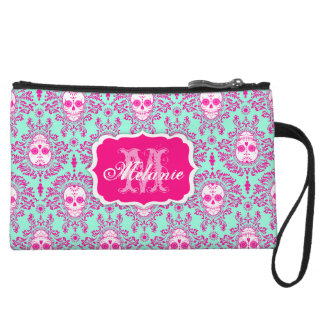 Dead Damask Sugar Skull Monogram and Name Mini Bag Wristlet Purses