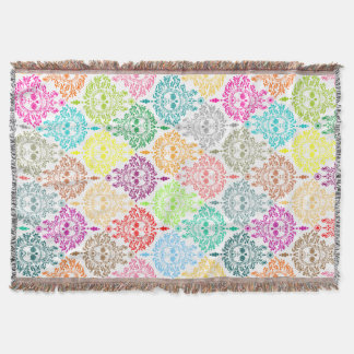 Dead Damask Sugar Skull Throw Blanket