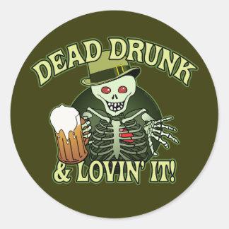 Dead Drunk Skeleton Classic Round Sticker
