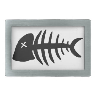 dead fish skeleton rectangular belt buckles