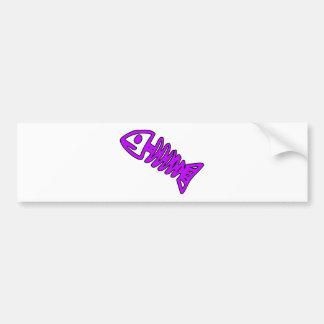 Dead Fish Skeleton Skull Bones Fossil Purple Bumper Sticker