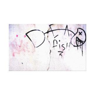 Dead Fish, Unique Urban Stretched Canvas Print