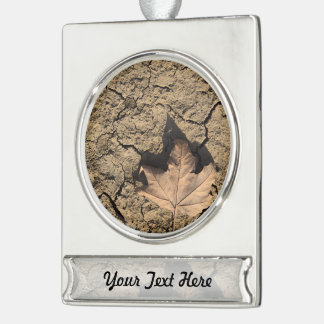 Dead Leaf on Dry Dirty Soil - Autumn Photography Silver Plated Banner Ornament