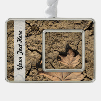 Dead Leaf on Dry Dirty Soil - Autumn Photography Silver Plated Framed Ornament