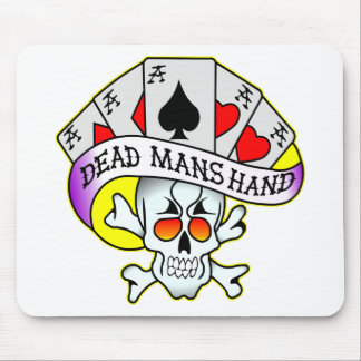 Dead Mans Hand Old School Tattoo Mouse Pads
