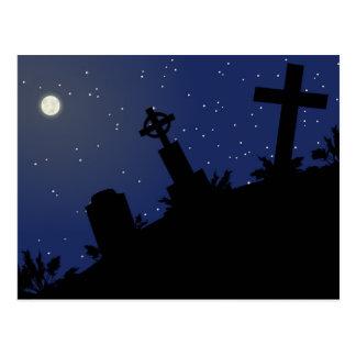 DEAD OF NIGHT! (tombstones - graveyard) ~ Postcard