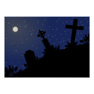 DEAD OF NIGHT! (tombstones - graveyard) ~ Poster