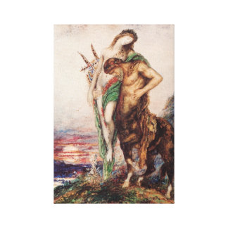 Dead poet borne by a centaur stretched canvas print