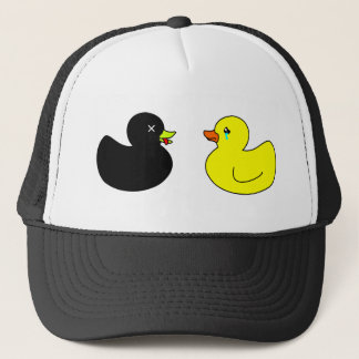 Dead Rubber Duck Mourned by Crying Rubber Duck Trucker Hat