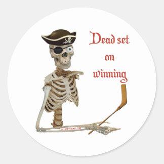 Dead Set Hockey Pirate Round Sticker