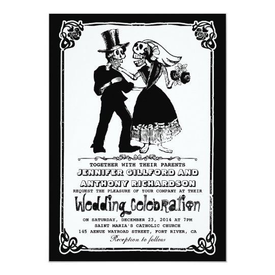 dead skeleton couple wedding invitations