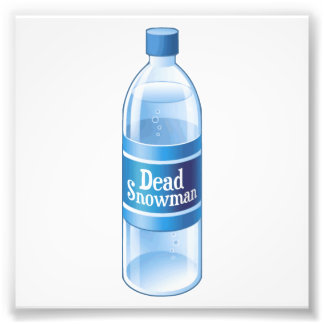 Dead Snowman Melted Bottled Water Photographic Print