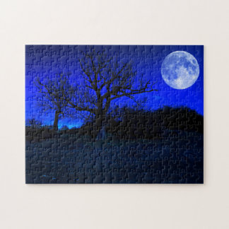 Dead Tree At Midnight With A Glowing Full Moon Jigsaw Puzzle